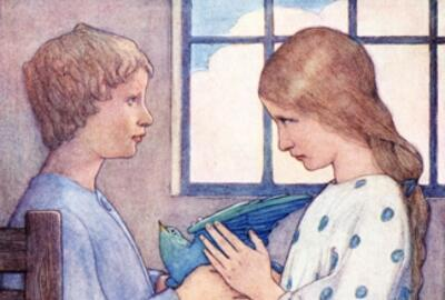 The Blue Bird about to Fly' door Frederick Cayley Robinson in The Blue Bird Methuen, Londen,1911.
